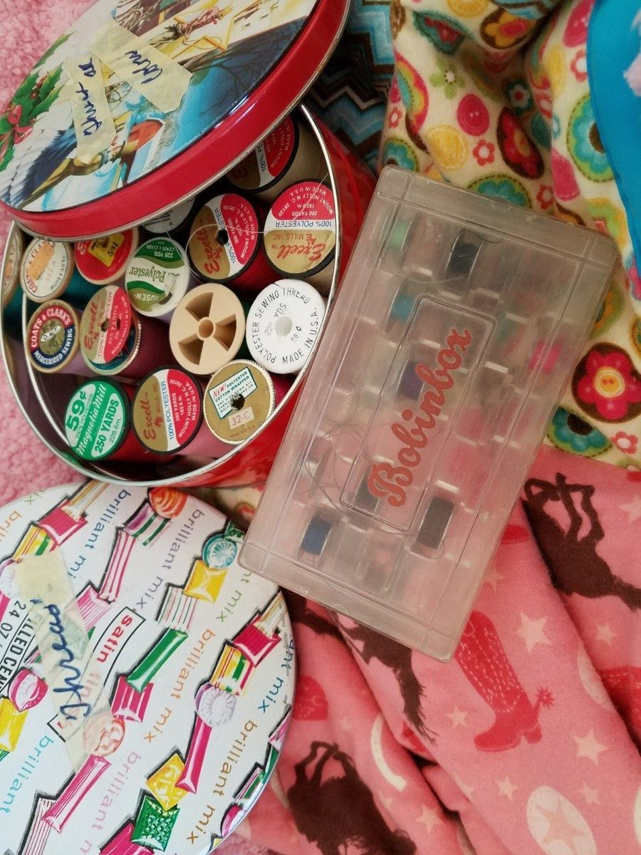 vintage sewing supplies for making heirlooms